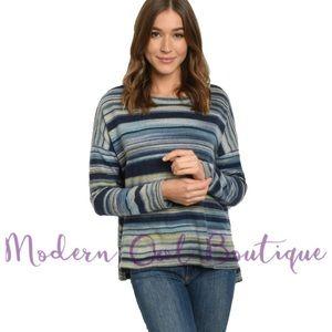 Blue Multicolored Striped Sweater